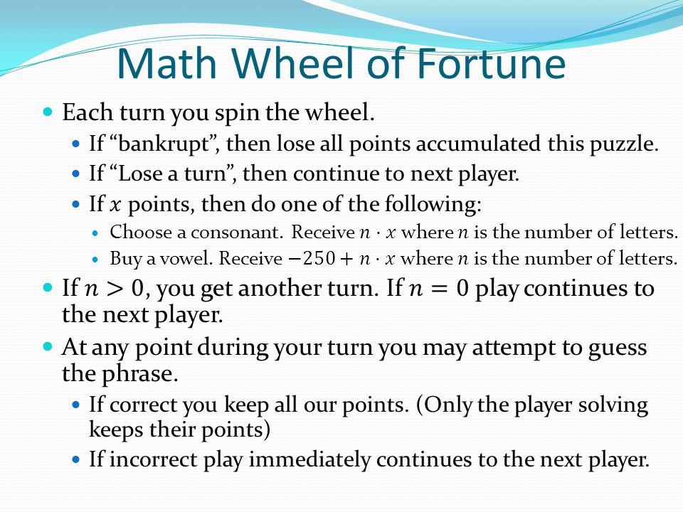 Math Wheel of Fortune