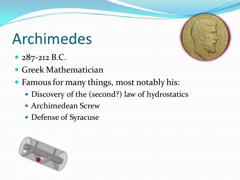 Archimedes 287-212 B.C.