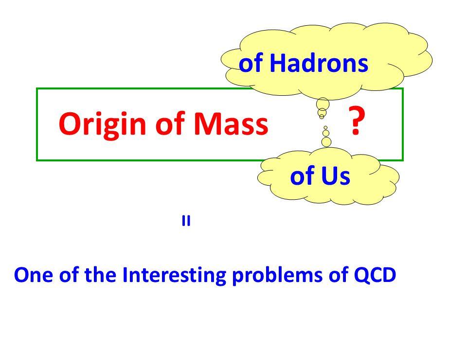 Origin of Mass = quark condensate Spontaneous Chiral Symmetry Breaking