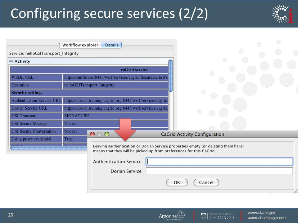 www.ci.anl.gov www.ci.uchicago.edu 25 Configuring secure services (2/2) View secures service details Configure services security properties
