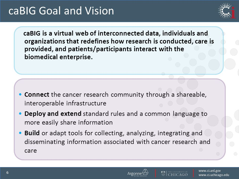 www.ci.anl.gov www.ci.uchicago.edu 6 caBIG Goal and Vision caBIG is a virtual web of interconnected data, individuals and organizations that redefines how research is conducted, care is provided, and patients/participants interact with the biomedical enterprise.