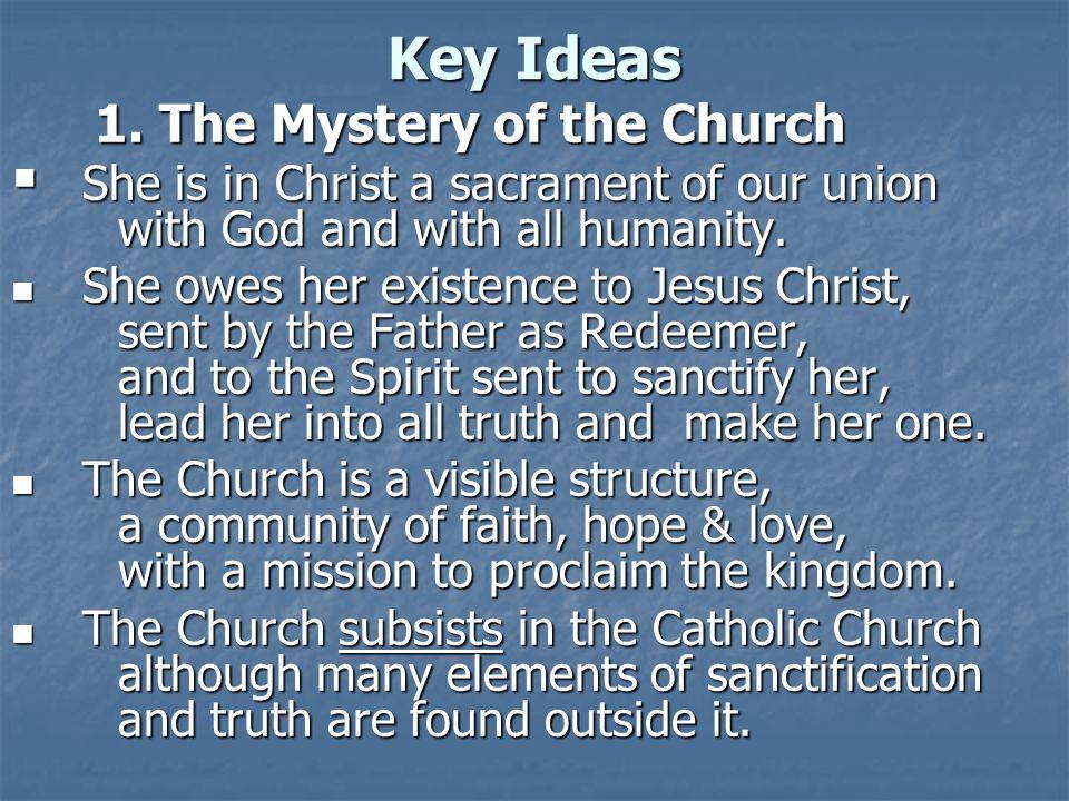 Key Ideas 1.The Mystery of the Church 1.