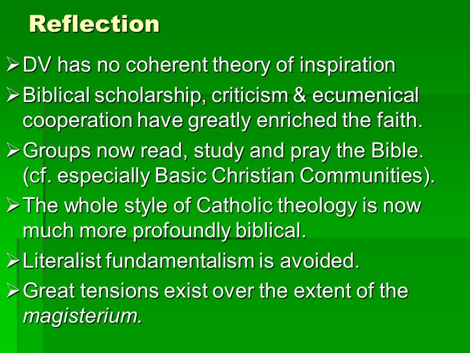 Reflection DV has no coherent theory of inspiration DV has no coherent theory of inspiration Biblical scholarship, criticism & ecumenical cooperation have greatly enriched the faith.