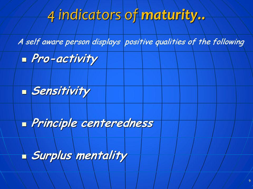 4 indicators of maturity.. Pro-activity Pro-activity Sensitivity Sensitivity Principle centeredness Principle centeredness Surplus mentality Surplus m