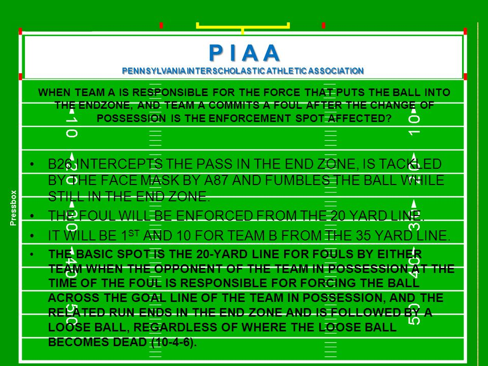 P I A A PENNSYLVANIA INTERSCHOLASTIC ATHLETIC ASSOCIATION Force and a Penalty Where is the basic spot.