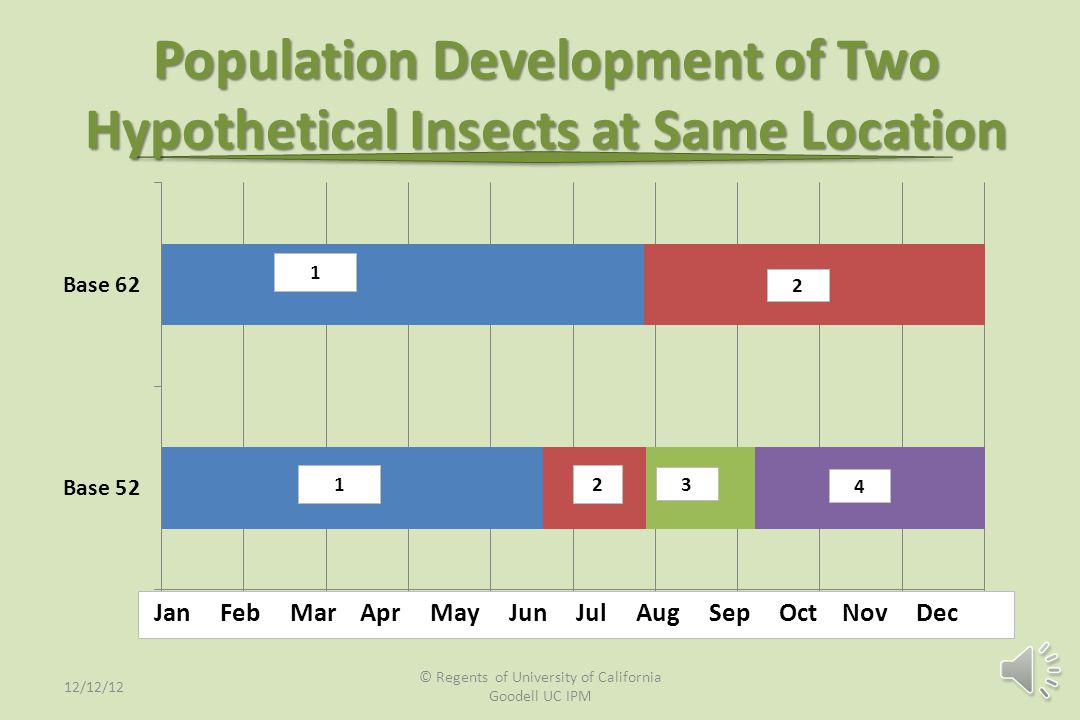 Population Development of a Hypothetical Insect in 3 Locations 1 1 1 2 34 2 34 5 23 4 5 6 7 Jan Feb Mar Apr May Jun Jul Aug Sep Oct Nov Dec 12/12/12 ©