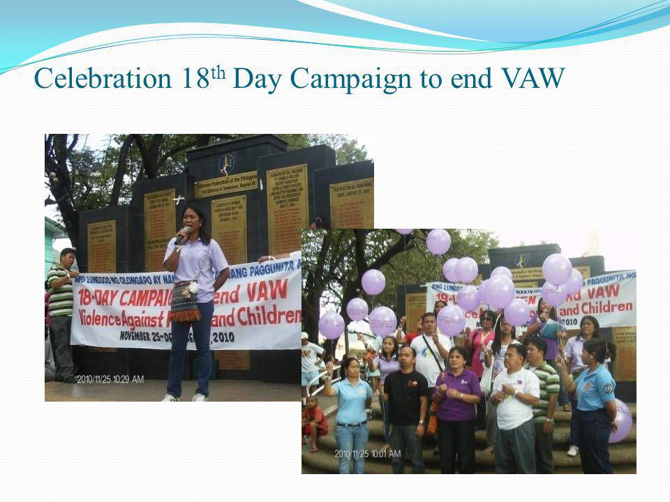 Celebration 18 th Day Campaign to end VAW