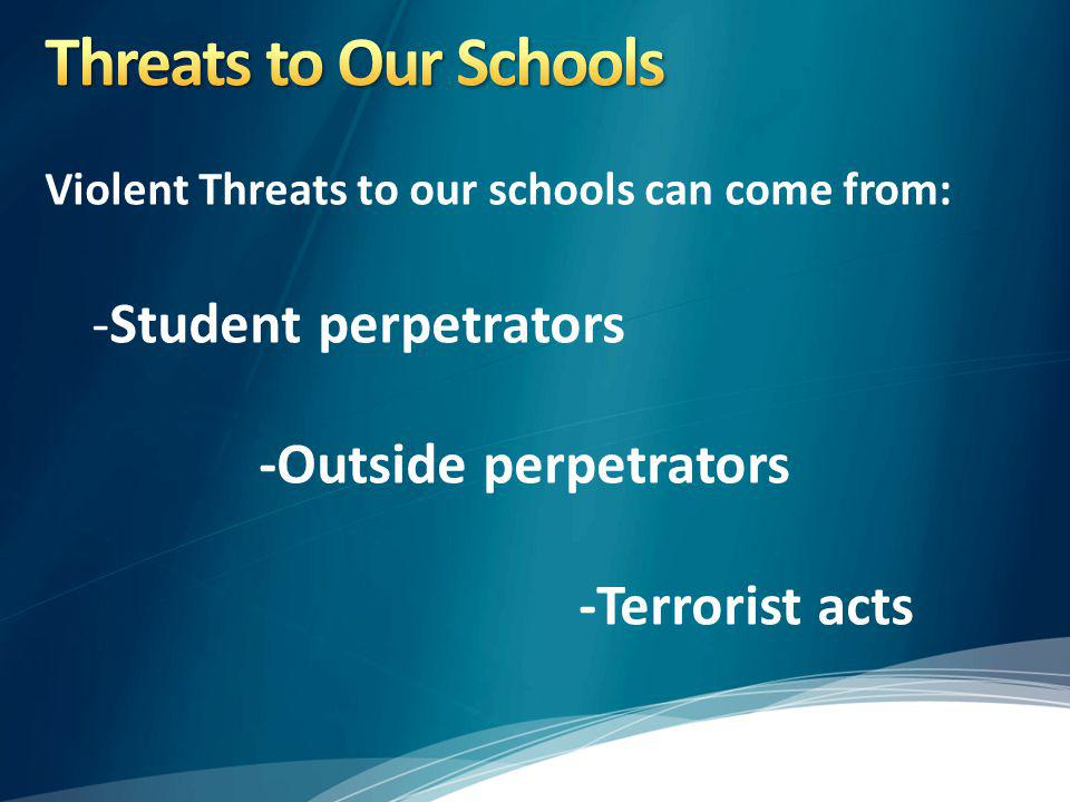 Violent Threats to our schools can come from: -Student perpetrators -Outside perpetrators -Terrorist acts