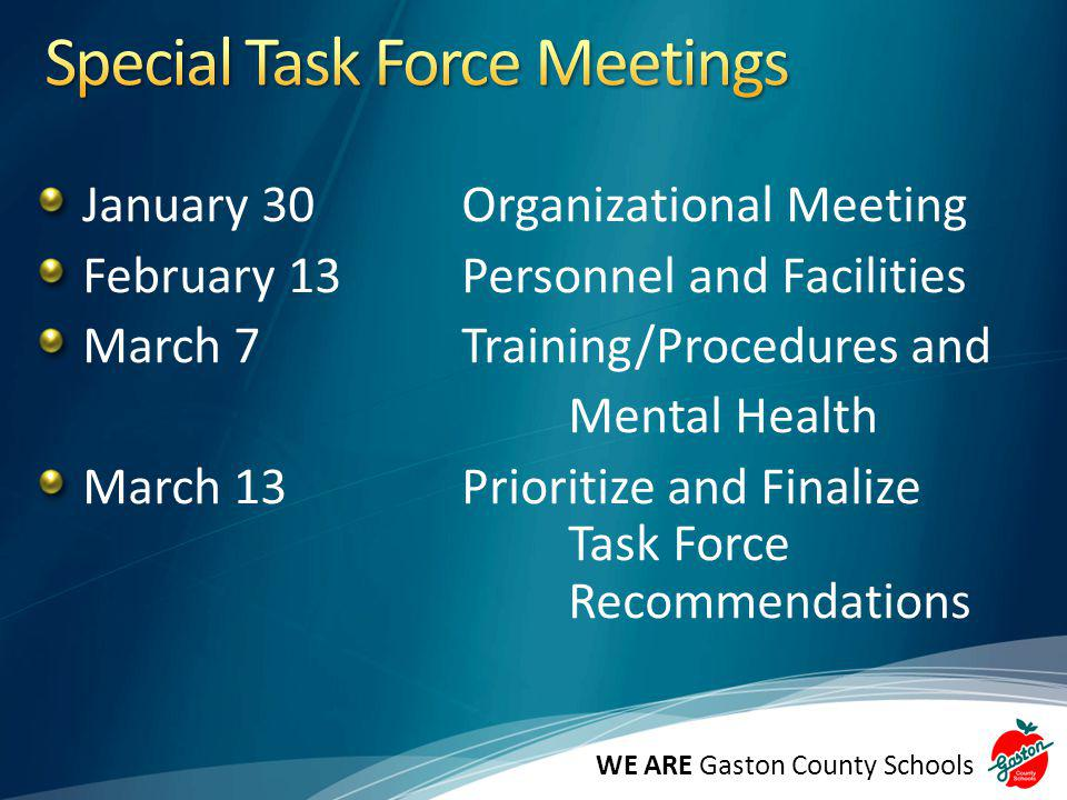 January 30Organizational Meeting February 13Personnel and Facilities March 7Training/Procedures and Mental Health March 13Prioritize and Finalize Task Force Recommendations WE ARE Gaston County Schools