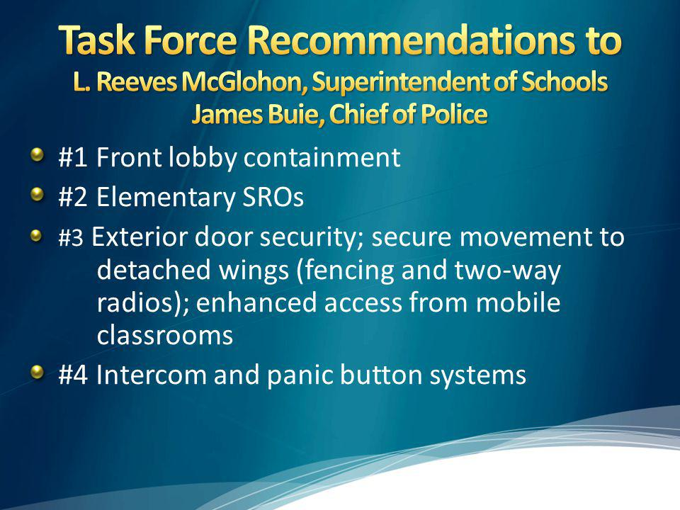 #1 Front lobby containment #2 Elementary SROs #3 Exterior door security; secure movement to detached wings (fencing and two-way radios); enhanced access from mobile classrooms #4 Intercom and panic button systems