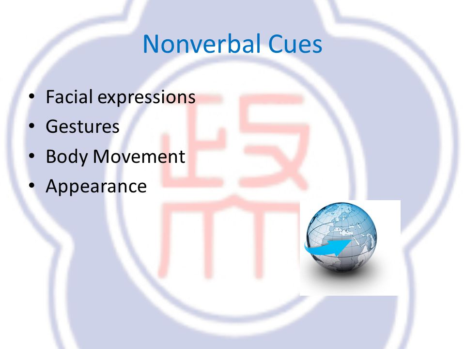 Nonverbal Cues Facial expressions Gestures Body Movement Appearance