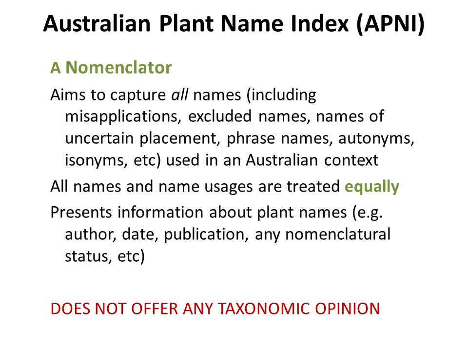 Australian Plant Name Index (APNI) A Nomenclator Aims to capture all names (including misapplications, excluded names, names of uncertain placement, phrase names, autonyms, isonyms, etc) used in an Australian context All names and name usages are treated equally Presents information about plant names (e.g.