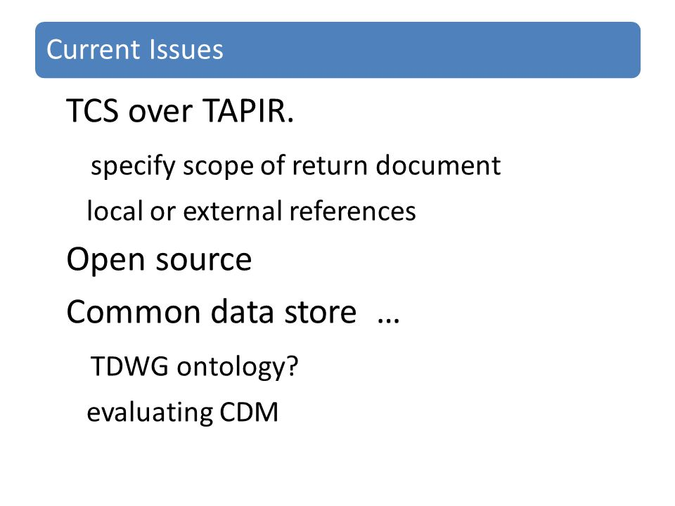 Current Issues TCS over TAPIR.