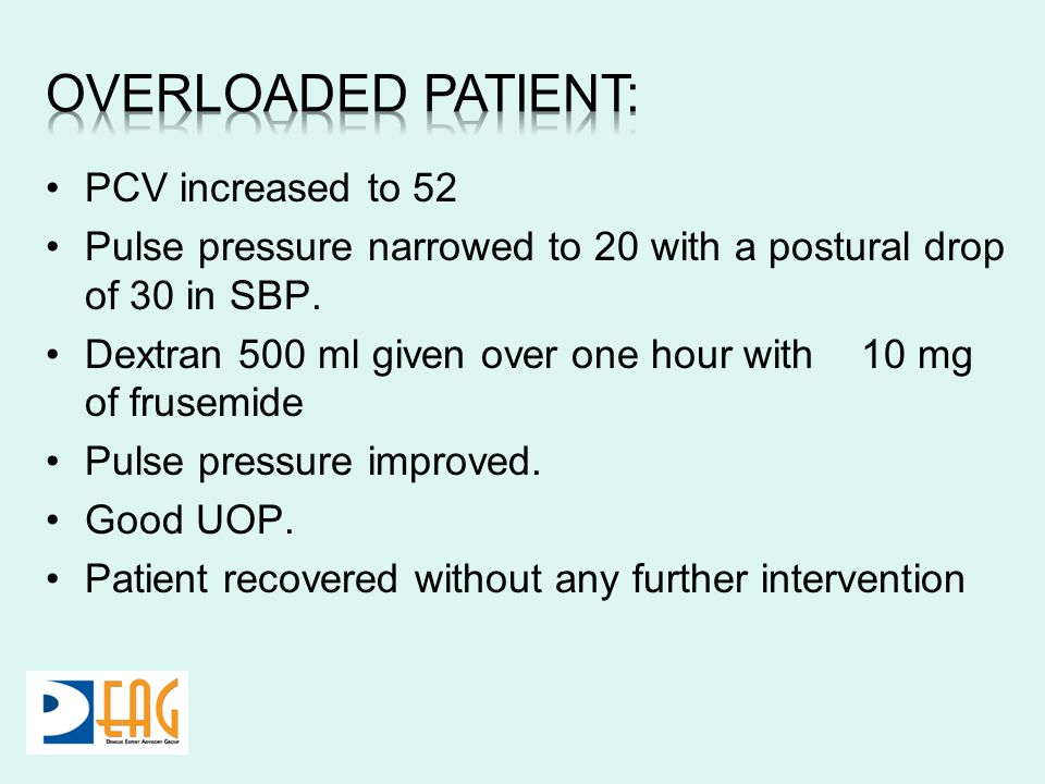 PCV increased to 52 Pulse pressure narrowed to 20 with a postural drop of 30 in SBP. Dextran 500 ml given over one hour with 10 mg of frusemide Pulse