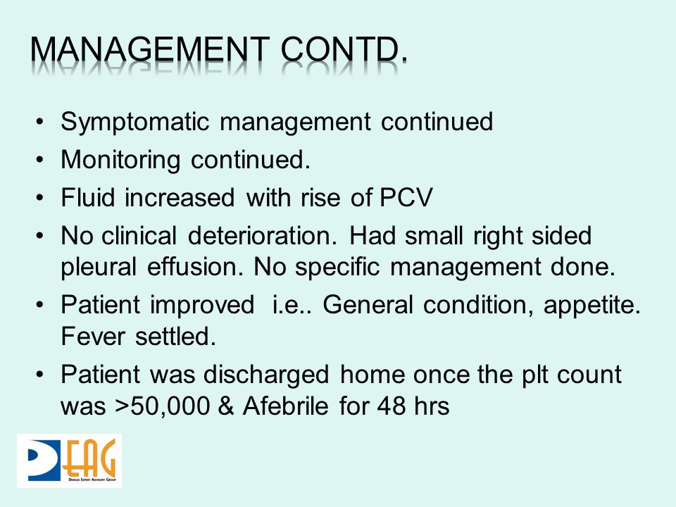 Symptomatic management continued Monitoring continued. Fluid increased with rise of PCV No clinical deterioration. Had small right sided pleural effus