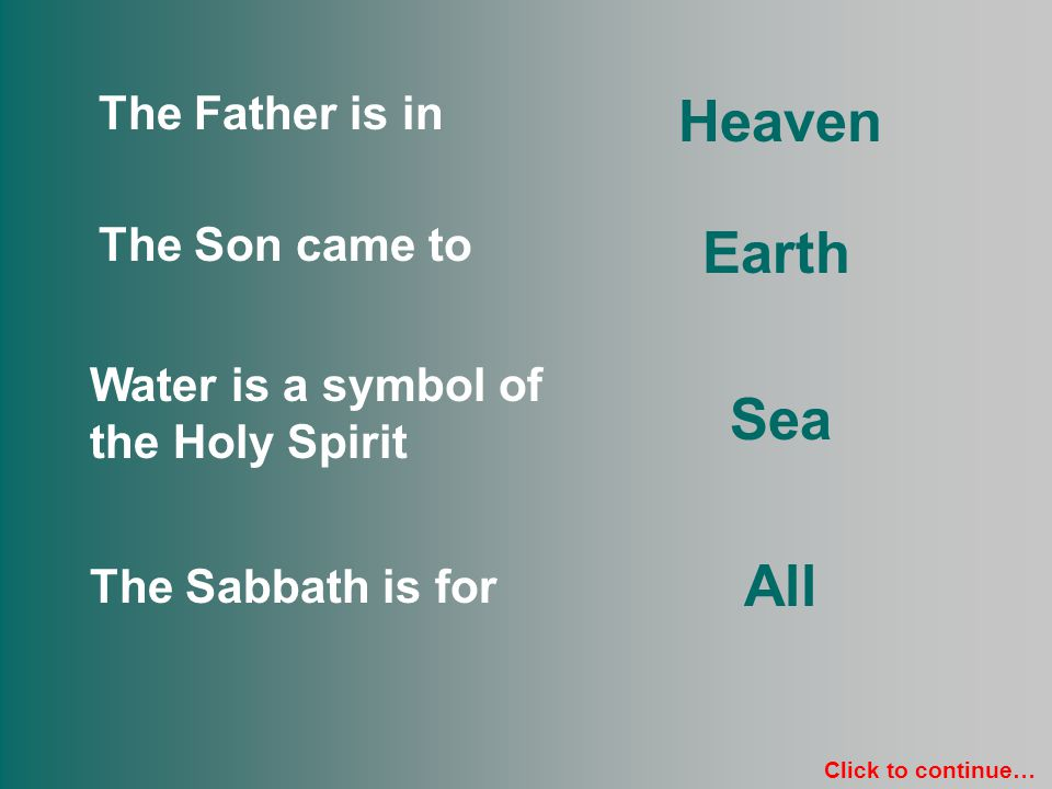 Father Son Holy Spirit Sabbath Heaven Earth Sea All Click to continue…
