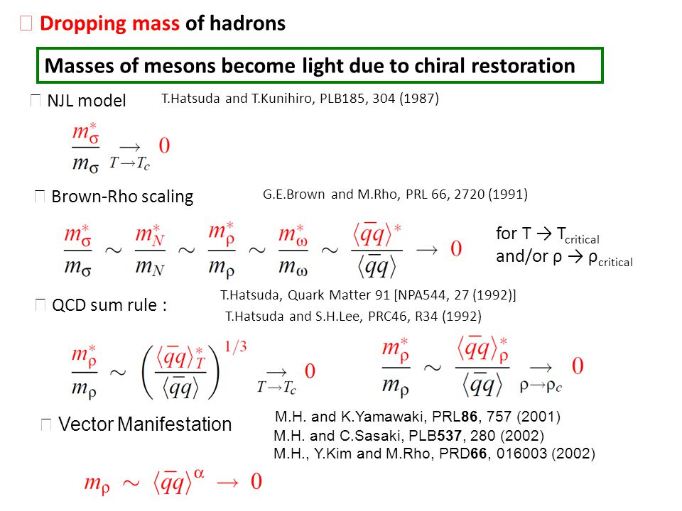 Masses of mesons become light due to chiral restoration Dropping mass of hadrons Brown-Rho scaling G.E.Brown and M.Rho, PRL 66, 2720 (1991) for T T cr