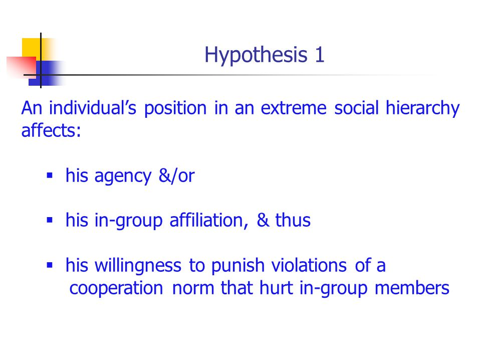 Hypothesis 1 An individuals position in an extreme social hierarchy affects: his agency &/or his in-group affiliation, & thus his willingness to punish violations of a cooperation norm that hurt in-group members