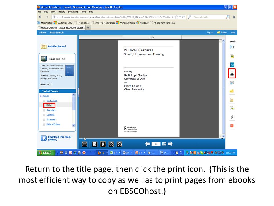 Return to the title page, then click the print icon. (This is the most efficient way to copy as well as to print pages from ebooks on EBSCOhost.)