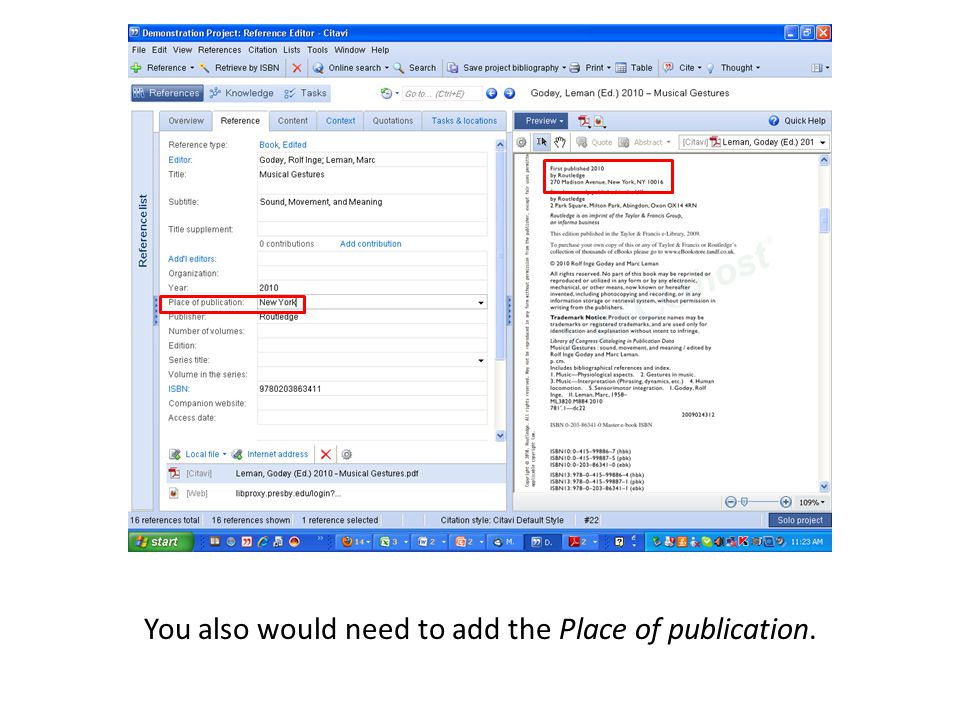You also would need to add the Place of publication.