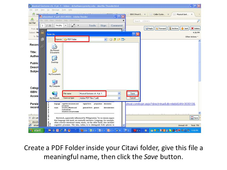 Create a PDF Folder inside your Citavi folder, give this file a meaningful name, then click the Save button. 0300041446