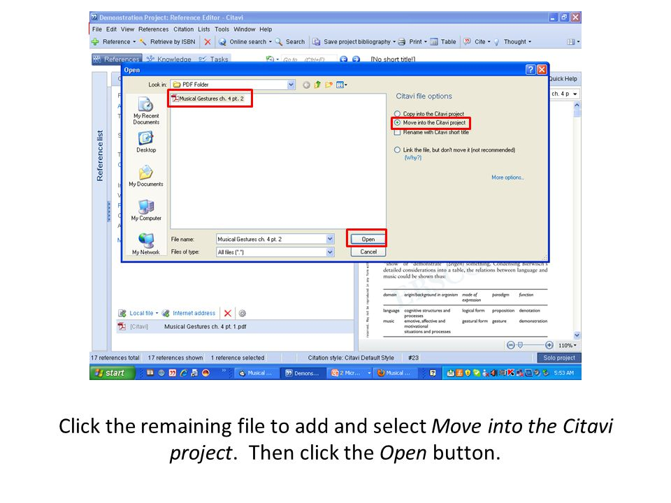 Click the remaining file to add and select Move into the Citavi project. Then click the Open button.