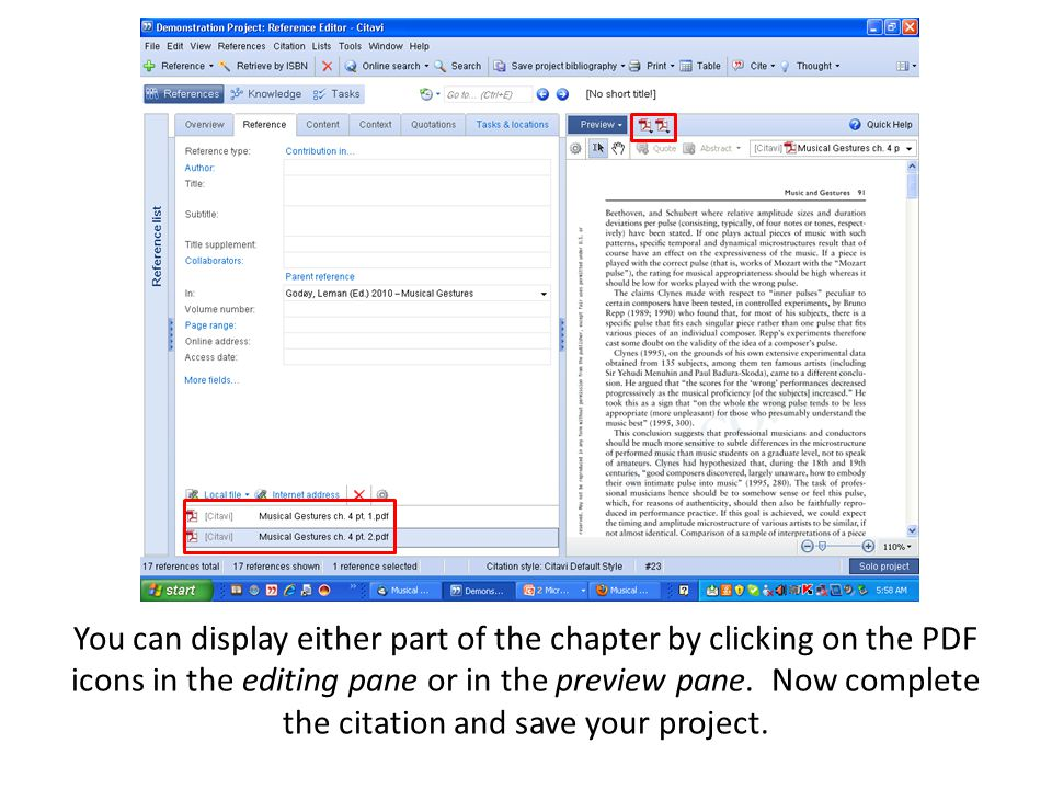 You can display either part of the chapter by clicking on the PDF icons in the editing pane or in the preview pane. Now complete the citation and save