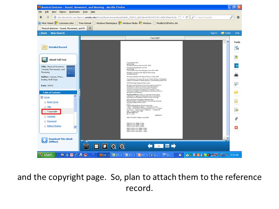 You also might find it useful to have in the reference record the table of contents and any prefatory material.