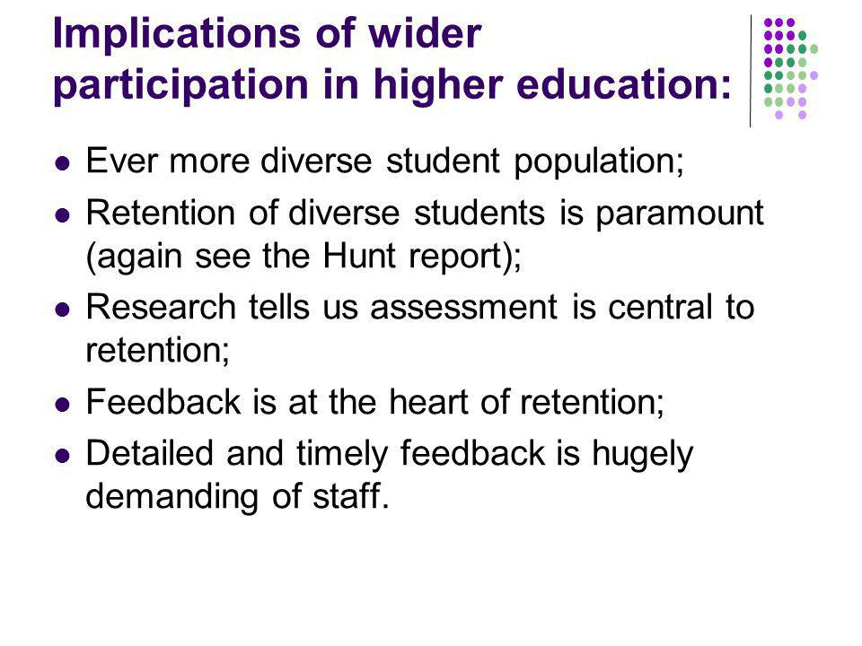 Implications of wider participation in higher education: Ever more diverse student population; Retention of diverse students is paramount (again see t
