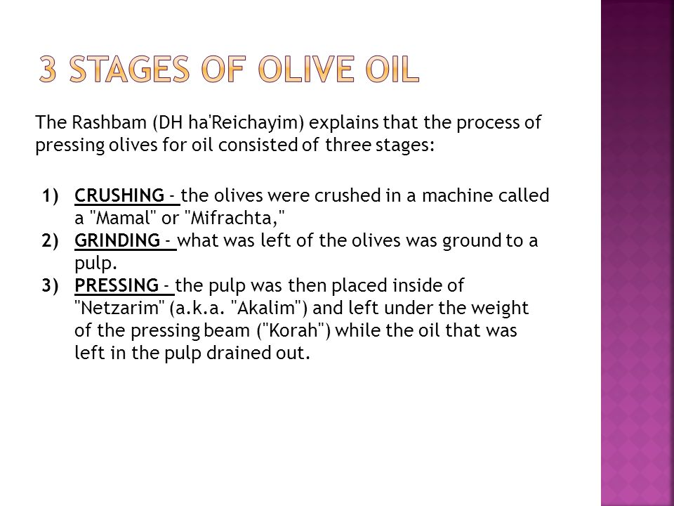 The Rashbam (DH ha'Reichayim) explains that the process of pressing olives for oil consisted of three stages: 1)CRUSHING - the olives were crushed in