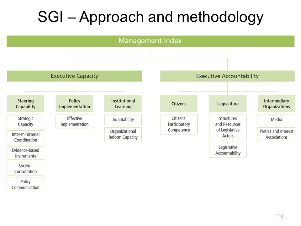 10 SGI – Approach and methodology