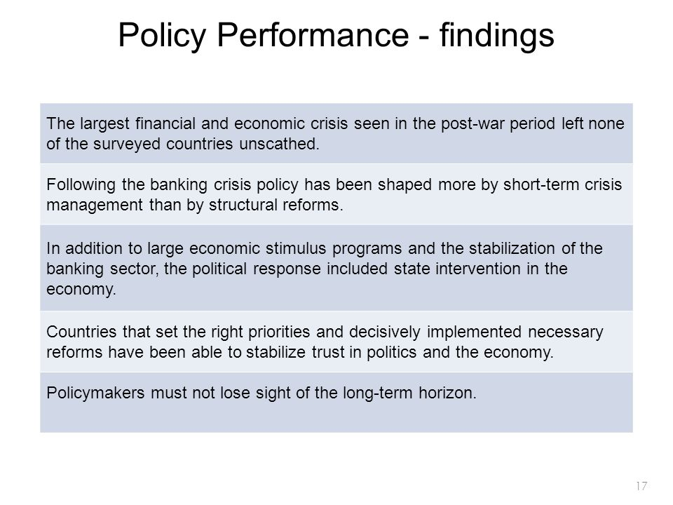 17 Policy Performance - findings The largest financial and economic crisis seen in the post-war period left none of the surveyed countries unscathed.