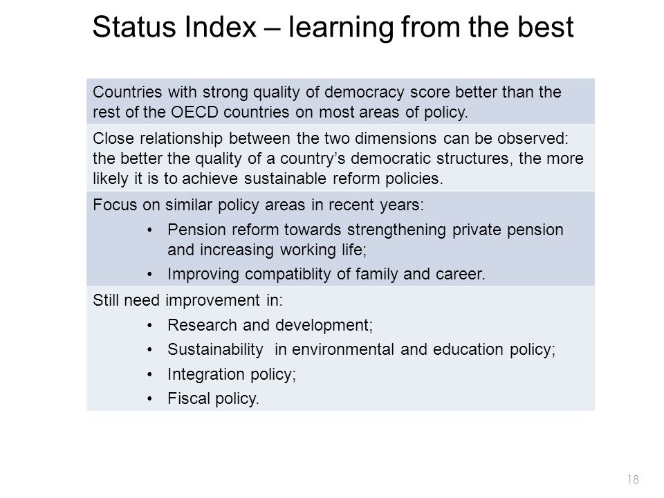18 Status Index – learning from the best Countries with strong quality of democracy score better than the rest of the OECD countries on most areas of