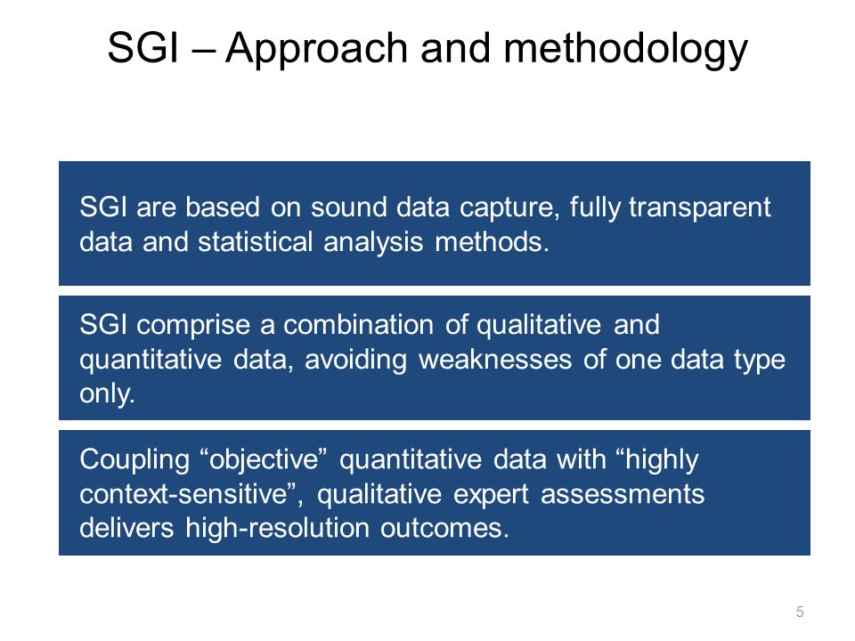 5 SGI are based on sound data capture, fully transparent data and statistical analysis methods. SGI comprise a combination of qualitative and quantita