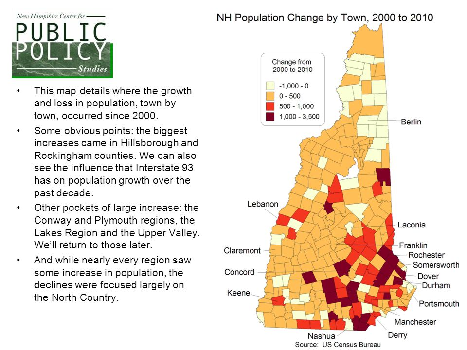 This map details where the growth and loss in population, town by town, occurred since 2000. Some obvious points: the biggest increases came in Hillsb