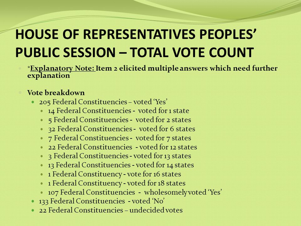 HOUSE OF REPRESENTATIVES PEOPLES PUBLIC SESSION – TOTAL VOTE COUNT * Explanatory Note: Item 2 elicited multiple answers which need further explanation Vote breakdown 205 Federal Constituencies – voted Yes 14 Federal Constituencies - voted for 1 state 5 Federal Constituencies - voted for 2 states 32 Federal Constituencies - voted for 6 states 7 Federal Constituencies - voted for 7 states 22 Federal Constituencies - voted for 12 states 3 Federal Constituencies - voted for 13 states 13 Federal Constituencies - voted for 14 states 1 Federal Constituency - vote for 16 states 1 Federal Constituency - voted for 18 states 107 Federal Constituencies - wholesomely voted Yes 133 Federal Constituencies - voted No 22 Federal Constituencies – undecided votes