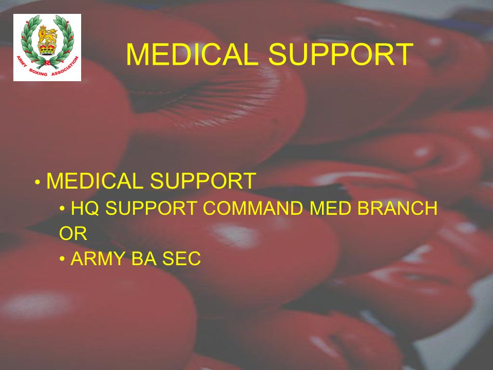 MEDICAL SUPPORT HQ SUPPORT COMMAND MED BRANCH OR ARMY BA SEC