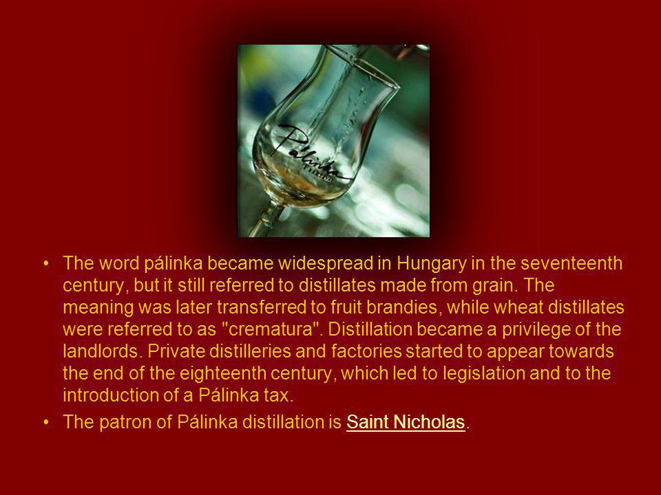 The word pálinka became widespread in Hungary in the seventeenth century, but it still referred to distillates made from grain.