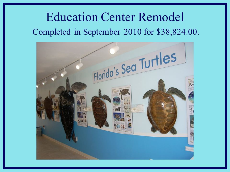 Education Center Remodel Completed in September 2010 for $38,824.00.