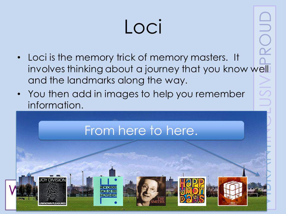 WENTWORTHHIGHSCHOOL LEARNINGSKILLS Loci Loci is the memory trick of memory masters.
