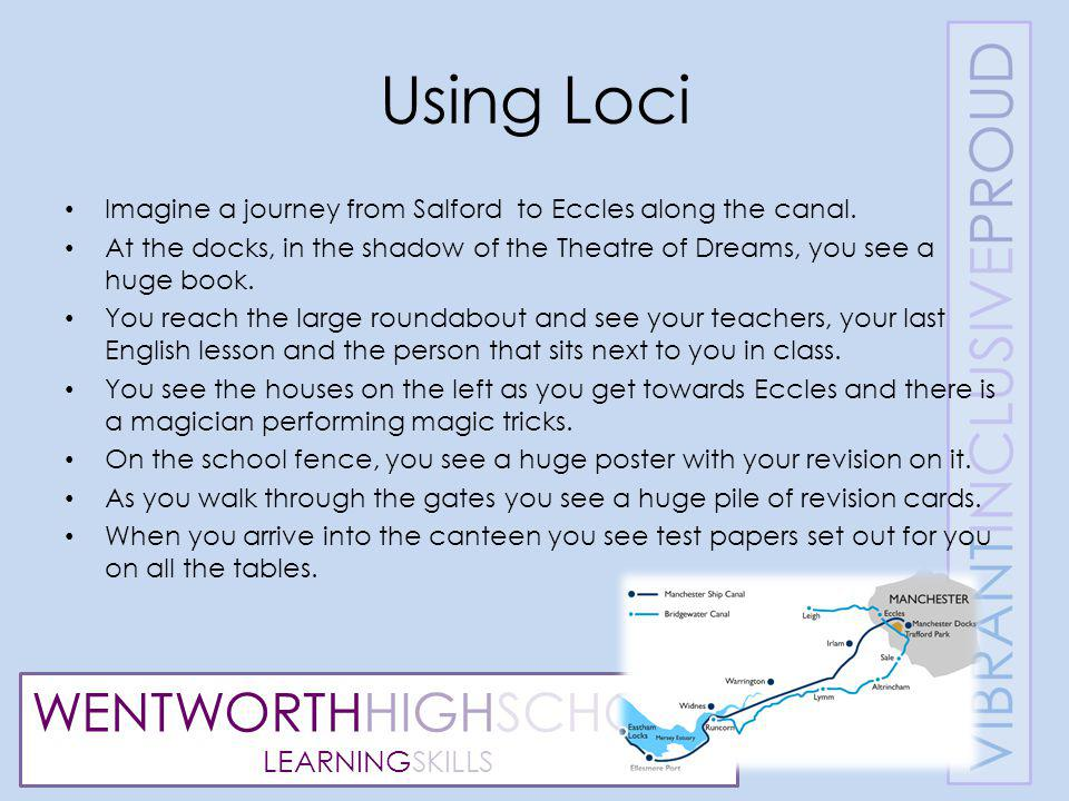 WENTWORTHHIGHSCHOOL LEARNINGSKILLS Using Loci Imagine a journey from Salford to Eccles along the canal.