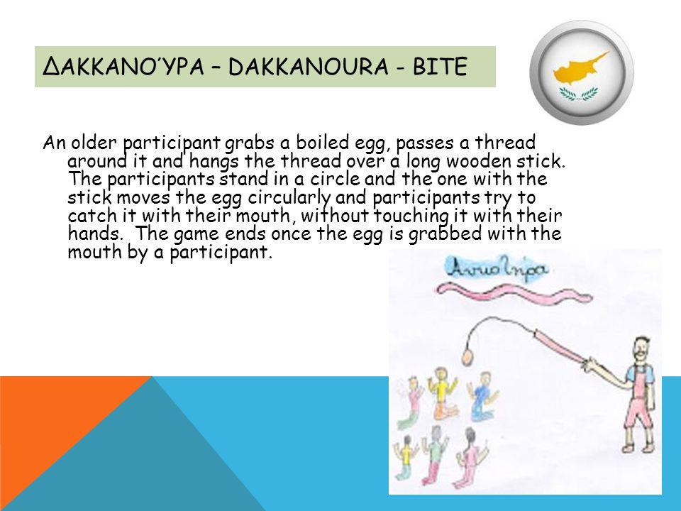 ΔΑΚΚΑΝΟΎΡΑ – DAKKANOURA - BITE An older participant grabs a boiled egg, passes a thread around it and hangs the thread over a long wooden stick. The p