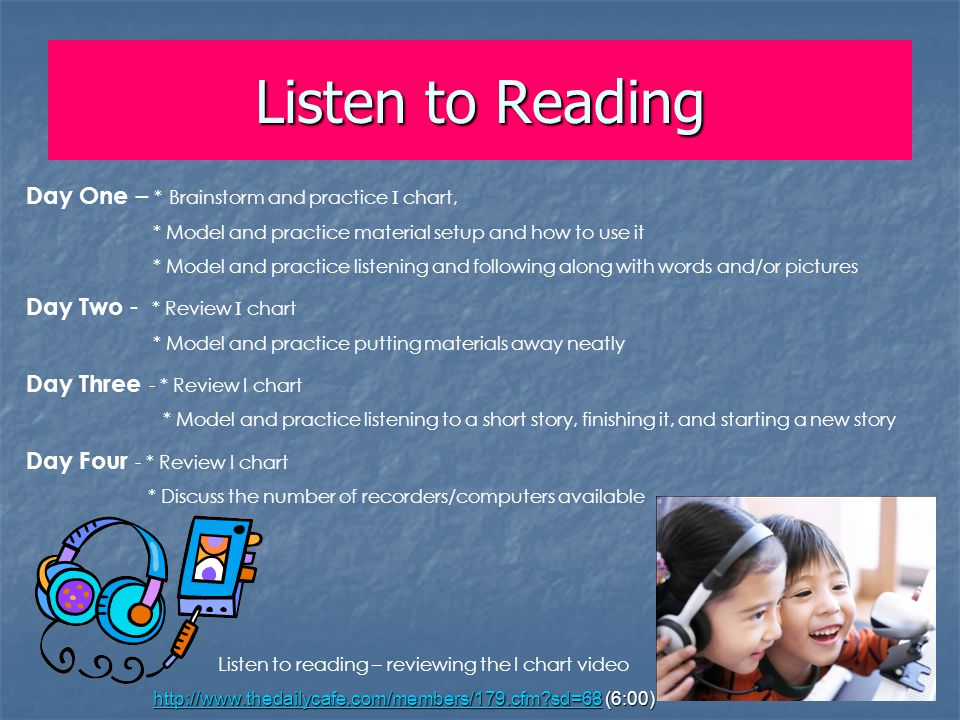 Listen to Reading Day One – * Brainstorm and practice I chart, * Model and practice material setup and how to use it * Model and practice listening an
