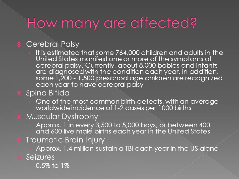 Cerebral Palsy It is estimated that some 764,000 children and adults in the United States manifest one or more of the symptoms of cerebral palsy. Curr