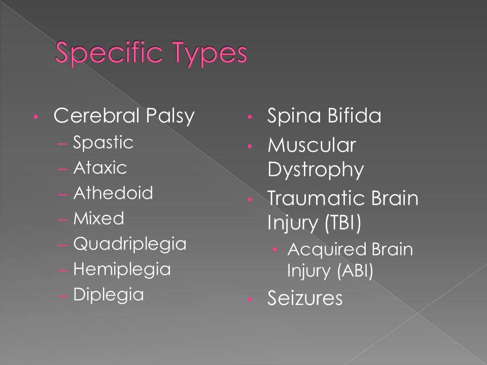 Cerebral Palsy – Spastic – Ataxic – Athedoid – Mixed – Quadriplegia – Hemiplegia – Diplegia Spina Bifida Muscular Dystrophy Traumatic Brain Injury (TBI) Acquired Brain Injury (ABI) Seizures