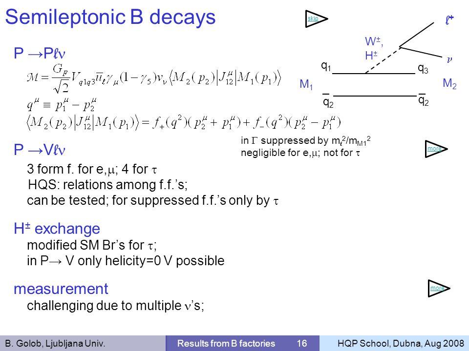 B. Golob, Ljubljana Univ.Results from B factories 16HQP School, Dubna, Aug 2008 Semileptonic B decays P P l q1q1 q3q3 l+l+ M1M1 q2q2 M2M2 q2q2 in supp