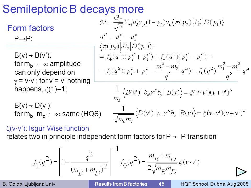 B. Golob, Ljubljana Univ.Results from B factories 45HQP School, Dubna, Aug 2008 Semileptonic B decays more Form factors PP: B(v) B(v): for m b amplitu