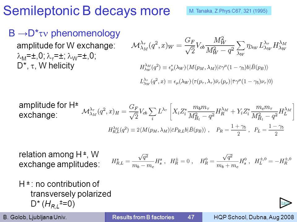 B. Golob, Ljubljana Univ.Results from B factories 47HQP School, Dubna, Aug 2008 Semileptonic B decays more B D* phenomenology amplitude for W exchange