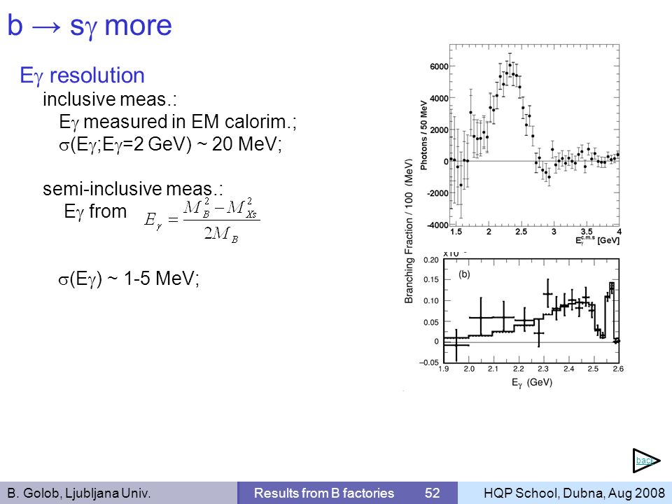 B. Golob, Ljubljana Univ.Results from B factories 52HQP School, Dubna, Aug 2008 b s more E resolution inclusive meas.: E measured in EM calorim.; (E ;