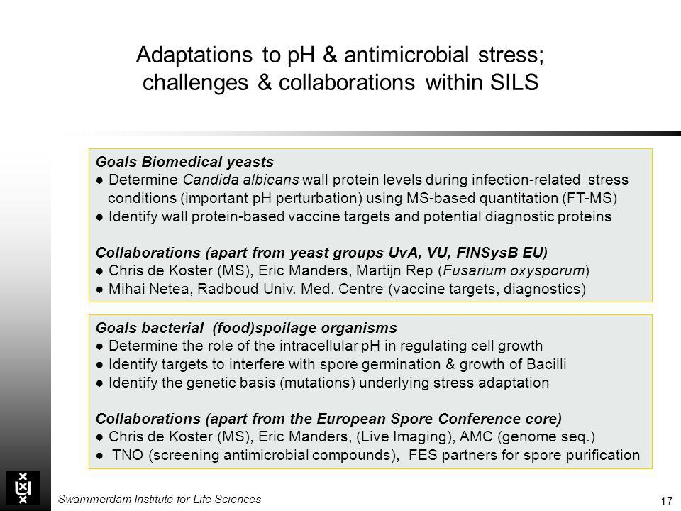 17 Swammerdam Institute for Life Sciences Adaptations to pH & antimicrobial stress; challenges & collaborations within SILS Goals Biomedical yeasts De